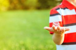 Cute boy showing soap bubble in his open hand Stock Photo