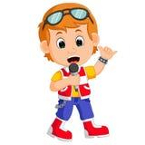 Cute boy singing Stock Image