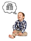 Cute boy siting on the floor Royalty Free Stock Photo