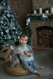 Cute boy sits and holds an apple near a Christmas tree Stock Image
