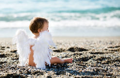 Cute boy sitting on the beach Royalty Free Stock Image