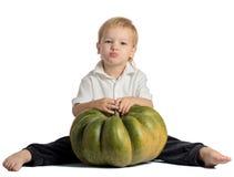 Cute boy sitting with pumpkin Stock Image