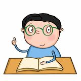 Cute boy sitting on the table. School book Royalty Free Stock Images