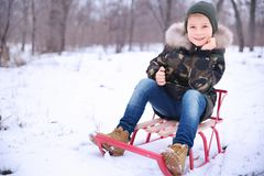 Cute boy with sled in snowy park. On winter vacation Stock Images