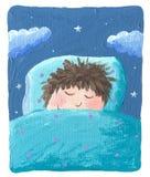 Cute boy sleeping. Acrylic illustration of a cute boy sleeping