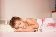 Cute boy sleeping at home Royalty Free Stock Images