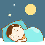 Cute boy sleeping well character  Stock Image