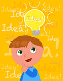 Cute boy with a smart idea vector Royalty Free Stock Photography