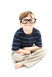 Cute boy smiling with large, goofy glasses Stock Photo