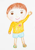 Cute boy smiling and waving hand cartoon oil pastel painted Royalty Free Stock Photos
