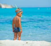 Cute boy snorkelling Royalty Free Stock Photos