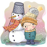 Cute Boy and snowman Royalty Free Stock Images