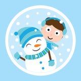 Cute boy and snowman on circle frame vector carton for Xmas postcard, wallpaper, greeting card royalty free illustration
