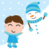 Cute boy and snowman on snow background vector carton for Xmas postcard, wallpaper, greeting card Royalty Free Stock Images