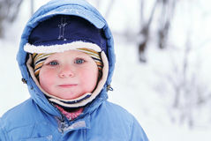 Cute boy in snowsuit Stock Images