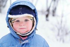 Cute boy in snowsuit Stock Images