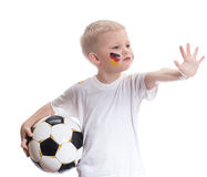 Cute boy with soccer ball and germany flag Stock Photo