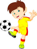 Cute boy soccer player Stock Photos