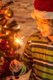 Cute boy with sparklers Stock Images