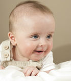 Cute boy staring. Cute, 6 month old boy smiling Royalty Free Stock Photos