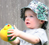 Cute Boy in Sun Hat stock photo