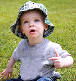 Cute Boy in Sun Hat stock image
