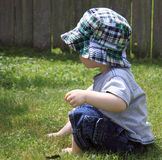 Cute Boy in Sun Hat Royalty Free Stock Images
