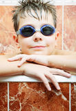 Cute boy in swimming goggles Stock Image