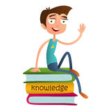 Cute boy teenager sitting on a pile of books and waving. flat style vector illustration isolated on white background. Smart kid. Stock Image