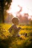 Cute boy toddler sitting in the grass Stock Photo