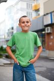 Cute boy in town Royalty Free Stock Photo