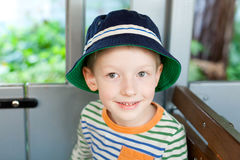 Cute boy in the train Royalty Free Stock Photos