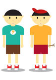 Cute Boy. Two Character Cute Boy Vector Stock Photos