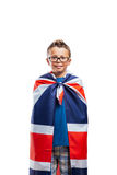 Cute boy with UK cape royalty free stock images