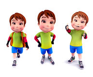 Cute boy with various action Royalty Free Stock Image