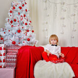 Cute boy waiting for Christmas. stock image
