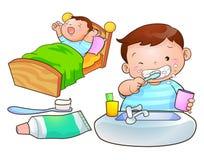 Cute boy wakeup. Brush the teeth Stock Images