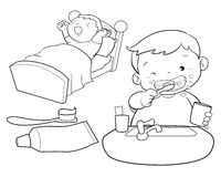 Cute boy wakeup line art. Cute boy wakeup brush the teeth Stock Image
