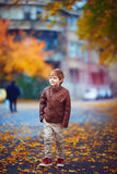 Cute boy walking through the autumn city street Royalty Free Stock Image