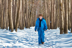 Cute boy walking in a snowy forest on a cold sunny day Royalty Free Stock Photography