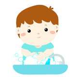 Cute boy washing hands in Washbasin . Cute boy washing hands in Washbasin  illustration Royalty Free Stock Photography