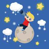 Cute boy watching through telescope at starry night Stock Images