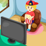 Cute boy watching TV Royalty Free Stock Image