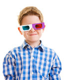 Cute boy wearing 3D glasses Royalty Free Stock Photography