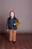 Cute boy wearing aviator clothes Royalty Free Stock Image
