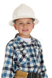 Cute boy wearing a construction hardhat Stock Photos