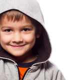 Cute boy wearing hooded sweatshirt Royalty Free Stock Images