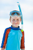 Cute boy wearing mask and snorkel Royalty Free Stock Photography