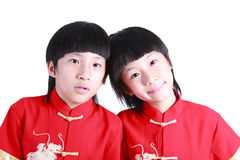 Cute boy wearing red Chinese suit Stock Photography
