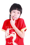 Cute boy wearing red Chinese suit Stock Image